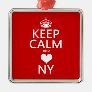 Keep Calm and Heart New York (customisable colors) Silver-Colored Square Decoration