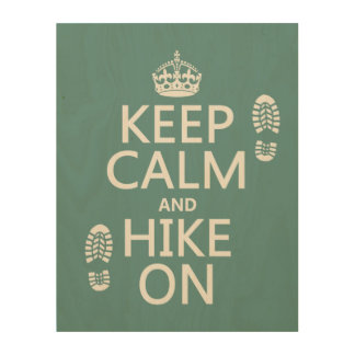 Keep Calm and Hike On (any background color) Wood Wall Art