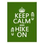 Keep Calm and Hike On (any background colour) Custom Invitation