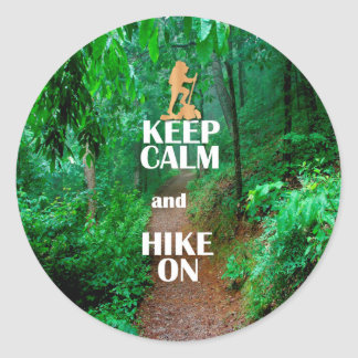 Keep Calm and Hike On Classic Round Sticker