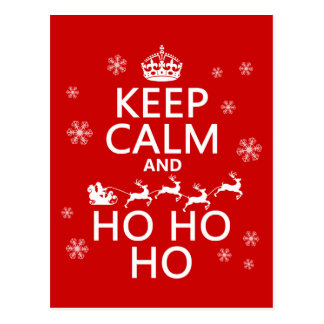 Keep Calm and Ho Ho Ho - Christmas Santa Post Card