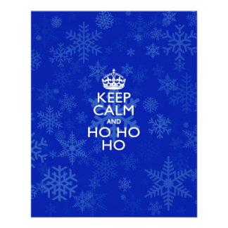 Keep Calm And Ho Ho Ho on Royal Blue Snowflakes 11.5 Cm X 14 Cm Flyer