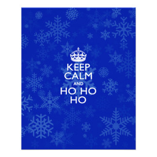 Keep Calm And Ho Ho Ho on Royal Blue Snowflakes Flyer