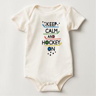 Keep Calm and Hockey On - baby Baby Bodysuit