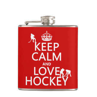 Keep Calm and Hockey On Hip Flask