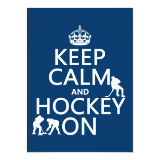 Keep Calm and Hockey On (in any color) 14 Cm X 19 Cm Invitation Card