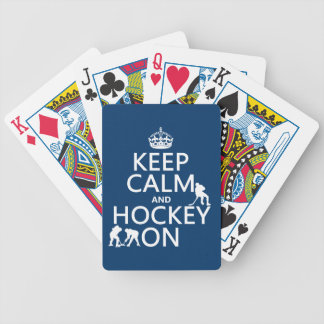 Keep Calm and Hockey On (in any color) Bicycle Playing Cards