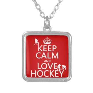 Keep Calm and Hockey On Silver Plated Necklace