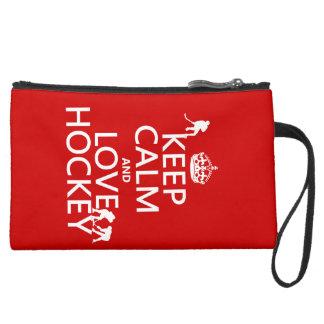 Keep Calm and Hockey On Suede Wristlet
