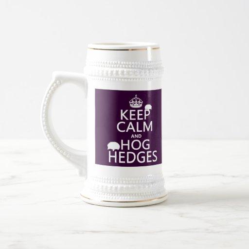 Keep Calm and Hog Hedges (Hedgehogs) (all colors) Mugs
