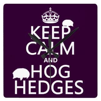 Keep Calm and Hog Hedges (Hedgehogs) (all colors) Square Wall Clock