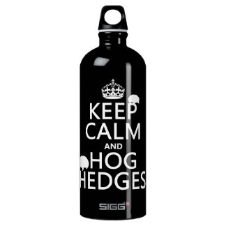 Keep Calm and Hog Hedges (Hedgehogs) (all colors) Water Bottle