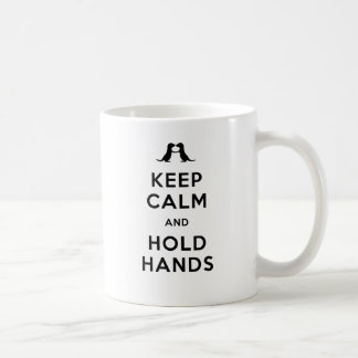 Keep Calm and Hold Hands (Otters Holding Hands) Basic White Mug
