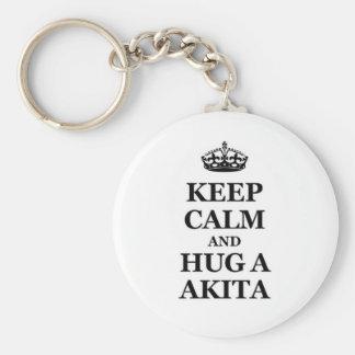 Keep calm and hug a Akita Key Ring