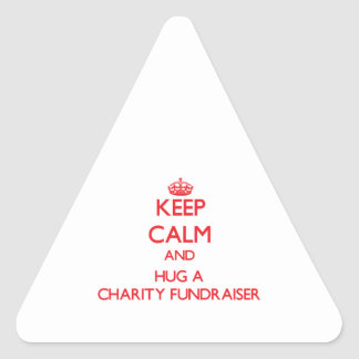 Keep Calm and Hug a Charity Fundraiser Triangle Stickers