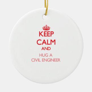 Keep Calm and Hug a Civil Engineer Christmas Ornament