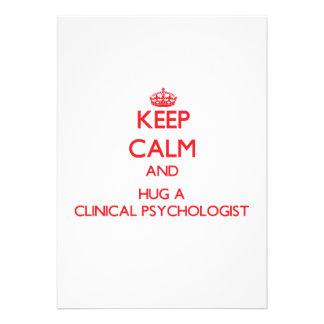 Keep Calm and Hug a Clinical Psychologist Custom Invitation