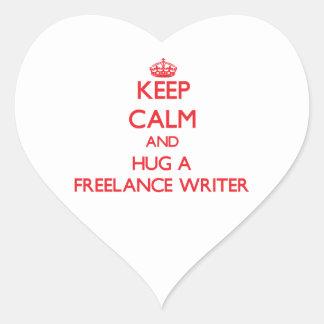 Keep Calm and Hug a Freelance Writer Heart Stickers