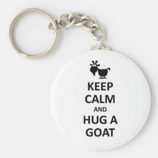 Keep calm and hug a Goat Basic Round Button Key Ring