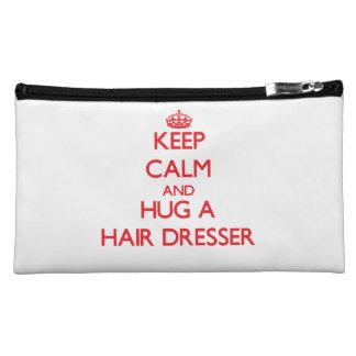 Keep Calm and Hug a Hair Dresser Makeup Bags