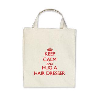 Keep Calm and Hug a Hair Dresser Canvas Bags