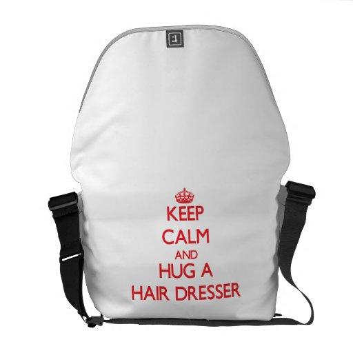 Keep Calm and Hug a Hair Dresser Courier Bag