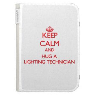 Keep Calm and Hug a Lighting Technician Kindle 3 Cover