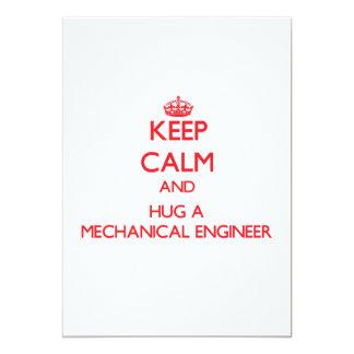 Keep Calm and Hug a Mechanical Engineer Custom Invitation