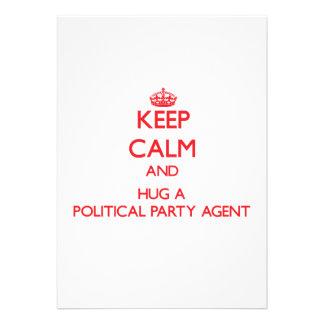 Keep Calm and Hug a Political Party Agent Custom Invitation