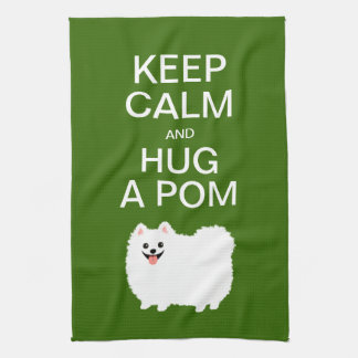 Keep Calm and Hug a Pom - Cute White Pomeranian Hand Towels