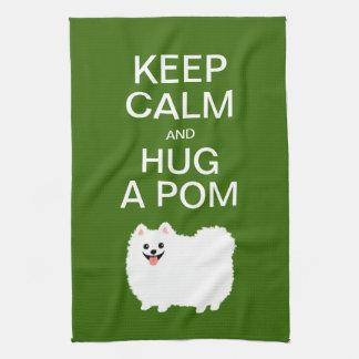 Keep Calm and Hug a Pom - Cute White Pomeranian Tea Towel