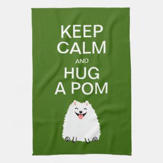 Keep Calm and Hug a Pom - Funny White Pomeranian Tea Towel