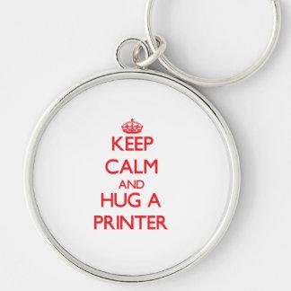 Keep Calm and Hug a Printer Key Chains