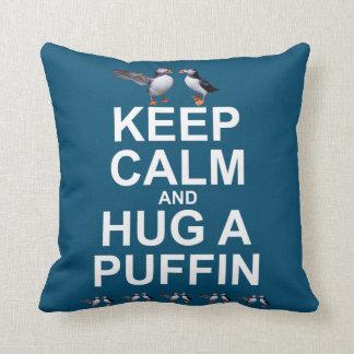 Keep Calm and Hug a Puffin Pillow (Dark Colours)