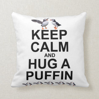 Keep Calm and Hug a Puffin Pillow (Light Colours)