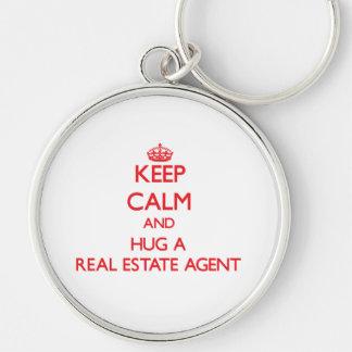 Keep Calm and Hug a Real Estate Agent Key Chains