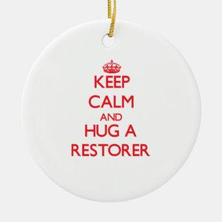 Keep Calm and Hug a Restorer Christmas Tree Ornaments