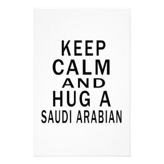 Keep Calm And Hug A Saudi or Saudi Arabian Personalized Stationery