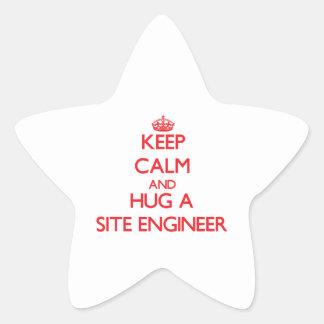 Keep Calm and Hug a Site Engineer Star Stickers