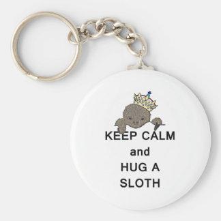Keep Calm and Hug a Sloth with Crown Meme Keychain