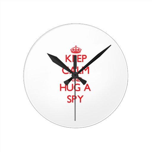 Keep Calm and Hug a Spy Wallclock