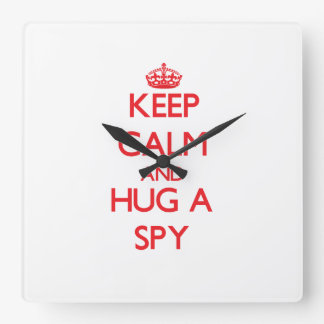 Keep Calm and Hug a Spy Wallclocks
