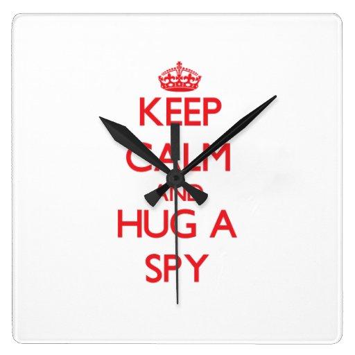 Keep Calm and Hug a Spy Wall Clock