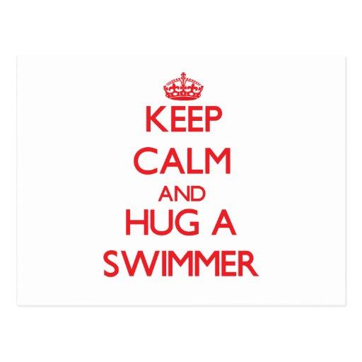 Keep Calm and Hug a Swimmer Post Card