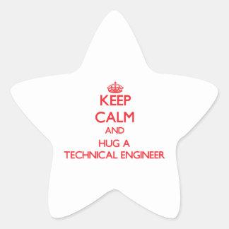 Keep Calm and Hug a Technical Engineer Star Sticker