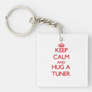 Keep Calm and Hug a Tuner Single-Sided Square Acrylic Keychain