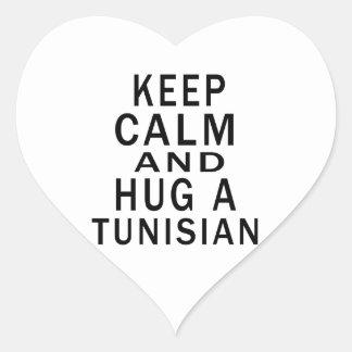 Keep Calm And Hug A Tunisian Heart Sticker