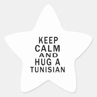 Keep Calm And Hug A Tunisian Star Sticker