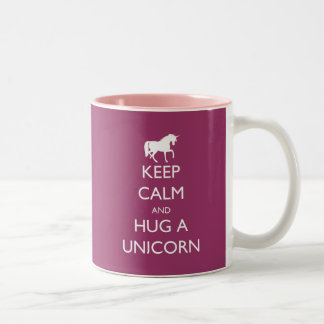 Keep Calm and Hug a Unicorn Two-Tone Coffee Mug
