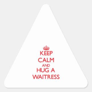 Keep Calm and Hug a Waitress Triangle Stickers